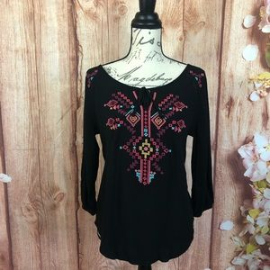 Maurices | Embroidered peasant blouse size small